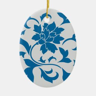 Oriental Flower - Snorkel Blue & Silver Ceramic Ornament
