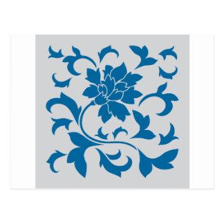Oriental Flower - Snorkel Blue & Silver Postcard
