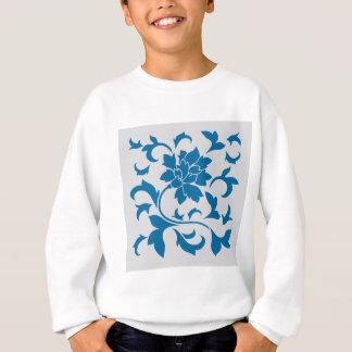 Oriental Flower - Snorkel Blue & Silver Sweatshirt