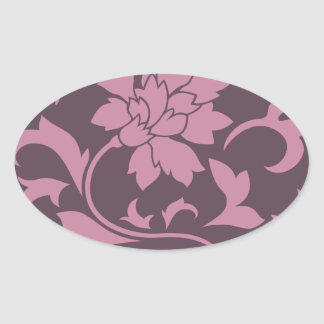 Oriental Flower - Strawberry Cherry Chocolate Oval Sticker