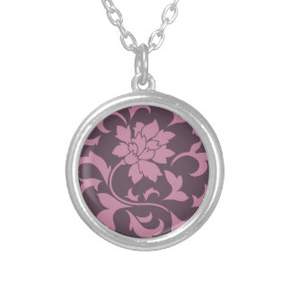 Oriental Flower - Strawberry Cherry Chocolate Silver Plated Necklace