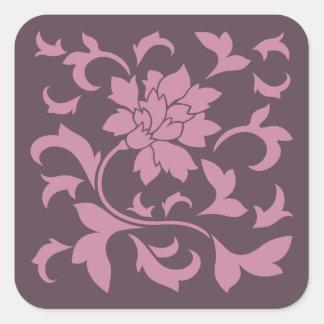 Oriental Flower - Strawberry Cherry Chocolate Square Sticker