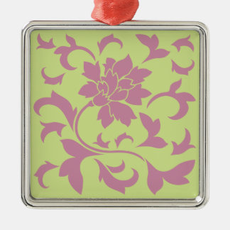 Oriental Flower - Strawberry & Daiquiri Green Lime Metal Ornament