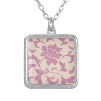 Oriental Flower - Strawberry Latte Silver Plated Necklace