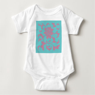 Oriental Flower - Strawberry & Pure Turquoise Baby Bodysuit