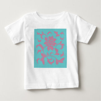 Oriental Flower - Strawberry & Pure Turquoise Baby T-Shirt