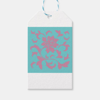 Oriental Flower - Strawberry & Pure Turquoise Gift Tags