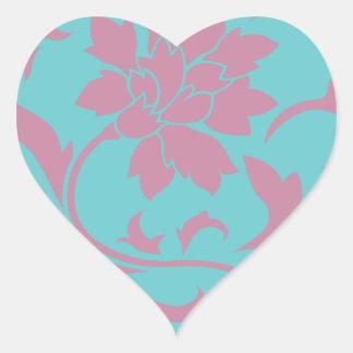 Oriental Flower - Strawberry & Pure Turquoise Heart Sticker
