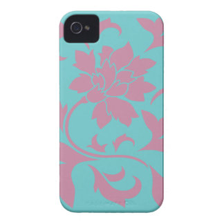 Oriental Flower - Strawberry & Pure Turquoise iPhone 4 Case