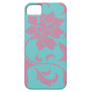 Oriental Flower - Strawberry & Pure Turquoise iPhone 5 Case