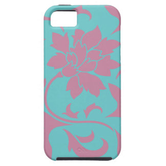 Oriental Flower - Strawberry & Pure Turquoise iPhone 5 Cases