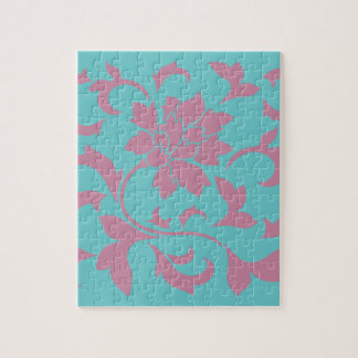 Oriental Flower - Strawberry & Pure Turquoise Jigsaw Puzzle