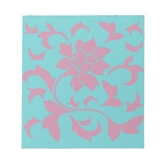Oriental Flower - Strawberry & Pure Turquoise Notepad