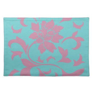 Oriental Flower - Strawberry & Pure Turquoise Placemat
