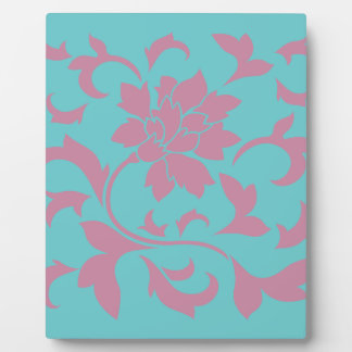 Oriental Flower - Strawberry & Pure Turquoise Plaque