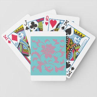 Oriental Flower - Strawberry & Pure Turquoise Poker Deck