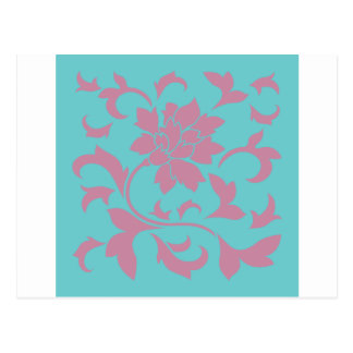 Oriental Flower - Strawberry & Pure Turquoise Postcard