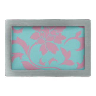 Oriental Flower - Strawberry & Pure Turquoise Rectangular Belt Buckle