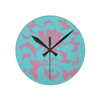 Oriental Flower - Strawberry & Pure Turquoise Round Clock