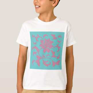 Oriental Flower - Strawberry & Pure Turquoise T-Shirt