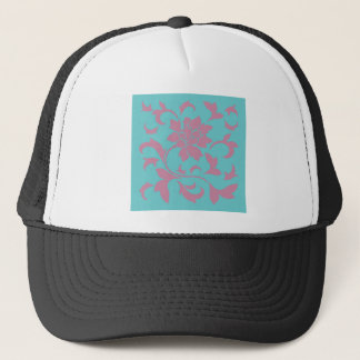 Oriental Flower - Strawberry & Pure Turquoise Trucker Hat