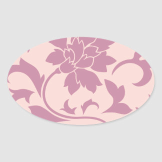 Oriental Flower - Strawberry & Rose Quartz Oval Sticker