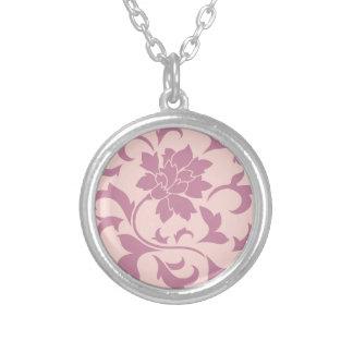 Oriental Flower - Strawberry & Rose Quartz Silver Plated Necklace