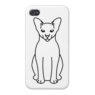 Oriental Foreign White Cat Cartoon Case For The iPhone 4