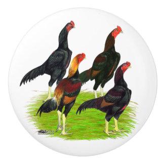 Oriental Game Fowl Quartet Ceramic Knob