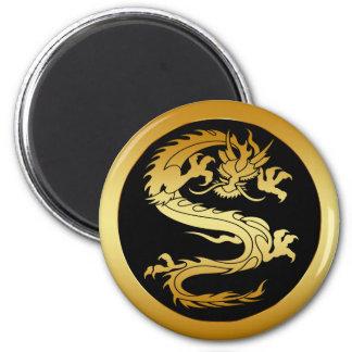 ORIENTAL GOLD DRAGON 2 INCH ROUND MAGNET