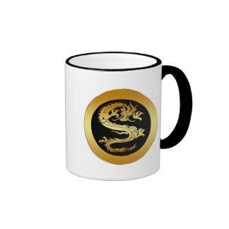 ORIENTAL GOLD DRAGON RINGER MUG