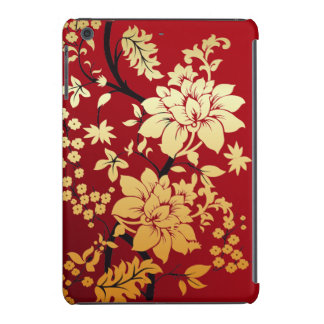 Oriental Golden Flowers on Red iPad Mini Retina Cover