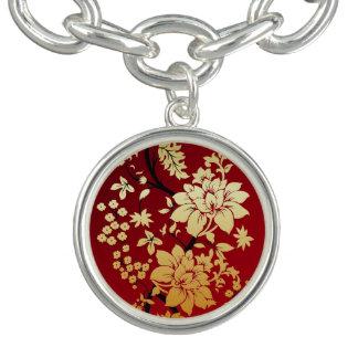 Oriental Golden Flowers on Red Charm Bracelet