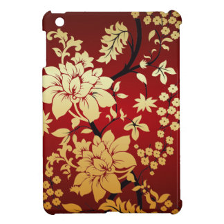 Oriental Golden Flowers on Red Case For The iPad Mini