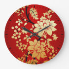 Oriental Golden Flowers on Red Large Clock