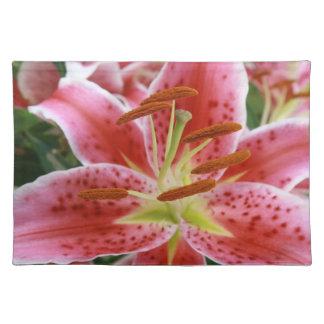 Oriental gorgeous pink lilies - summer bloom place mat