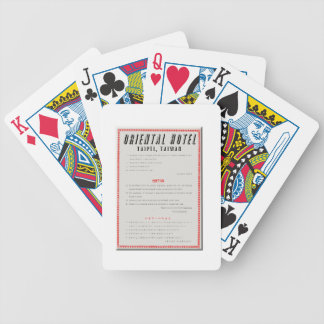 Oriental Hotel Rules Bicycle Playing Cards