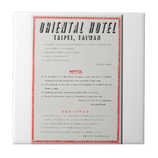 Oriental Hotel Rules Tile