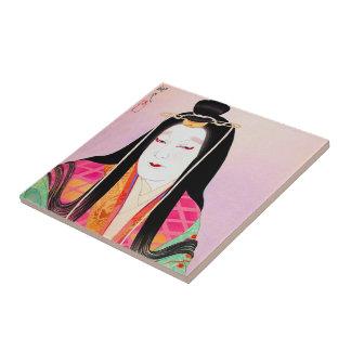 Oriental japanese kabuki actor beautiful lady art tile