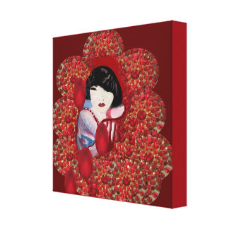 Oriental Jewel by Lin Masters-Red/Blue/Black Canvas Print