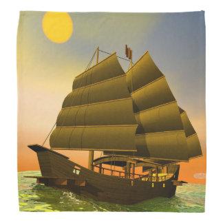 Oriental junk by sunset - 3D render Bandana