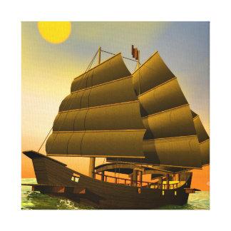 Oriental junk by sunset - 3D render Canvas Print