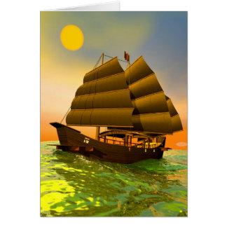 Oriental junk by sunset - 3D render Card