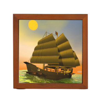 Oriental junk by sunset - 3D render Desk Organizer