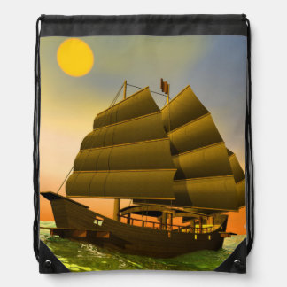 Oriental junk by sunset - 3D render Drawstring Bag