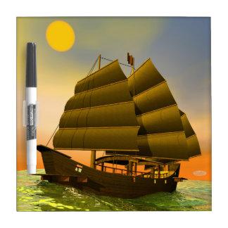 Oriental junk by sunset - 3D render Dry Erase Board