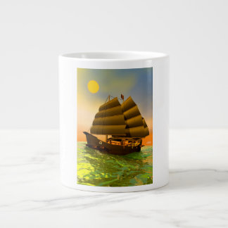 Oriental junk by sunset - 3D render Large Coffee Mug