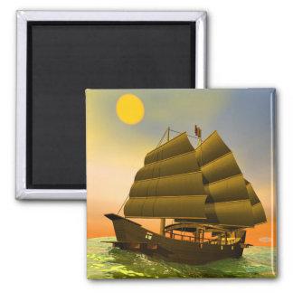 Oriental junk by sunset - 3D render Magnet