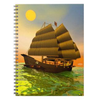 Oriental junk by sunset - 3D render Notebook
