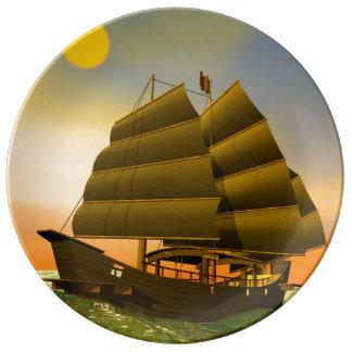 Oriental junk by sunset - 3D render Plate